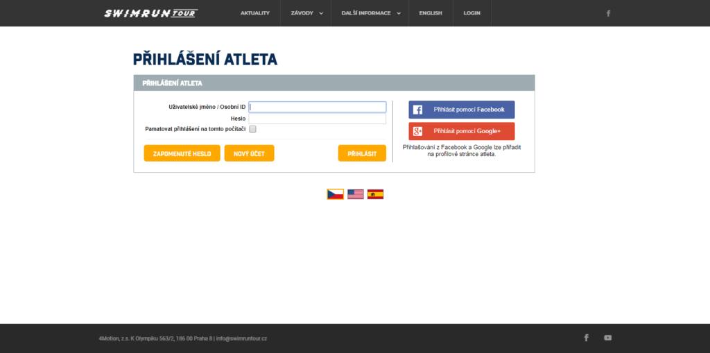 ukázka obrazovky pro přihlášení uživatele do systému závodníků